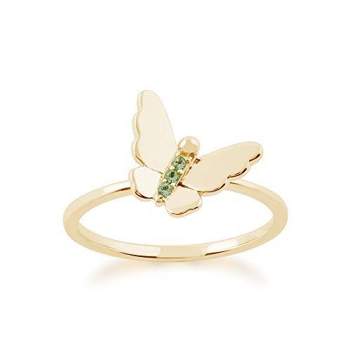 Gemondo Peridoto Anillo, 9CT Oro Amarillo 0,02ct Peridoto Apilable Anillo Mariposa