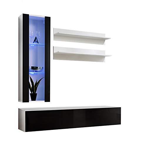muebles bonitos Mobile Soggiorno - Parete da Soggiorno Moderno sospeso Modello Nora H2 Bianco Nero...