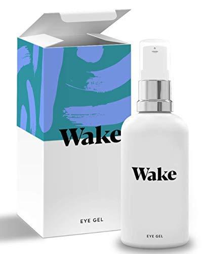 Wake Skincare Augengel - NEUE UND VERBESSERTE FORMEL - Luxurioeses Augencreme gegen muede Augen, Augenringe und Falten. Vitamin E - Kollagen - 30ml Anti Aging Serum - Maenner, Frauen gegen muede Augen