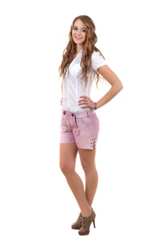 Highlight! Sexy Damen Trachten Ledershorts Pink Princess aus weichem Rindleder, Rosa, 36 - 6