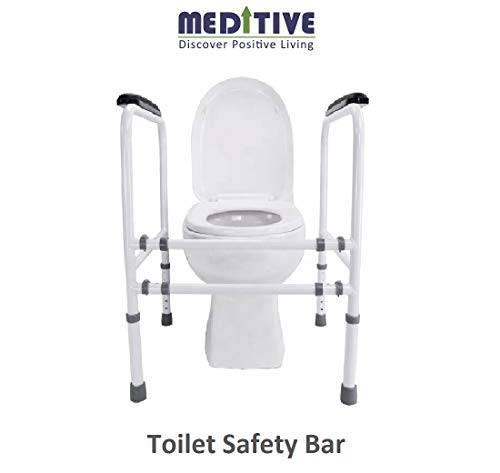 MEDITIVE Portable Metal toilet safety Bar with adjustable width and height detachable tool free assembling for kids, adult, elderly, disabled and pregnant women.