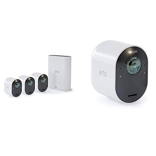 Arlo Ultra Vms5440 Sistema di Videosorveglianza Wi-Fi con 4 Telecamere di Sicurezza 4K, Audio 2 Vie, Luce, Bluetooth, Visione 180 Diurna/Notturna, Interno/Esterno,Compatibile con Alexa/Google Wi-Fi