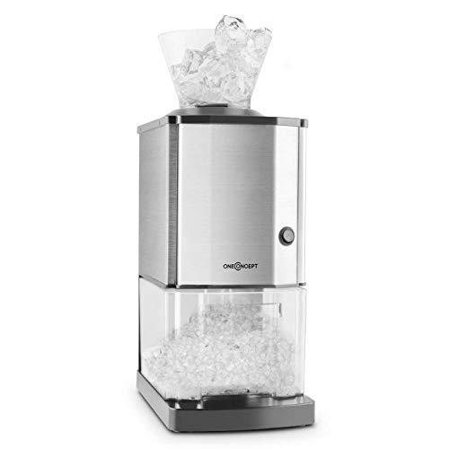 oneConcept Icebreaker - Broyeur à glace, Concasseur de glaçons, Icecrusher, 15 kg/h - 3,5L (env. 1,75 kg) Bac à glace, Entonnoir amovible, Interrupteur de sécurité, Pieds ventouses, argent