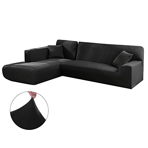 Copridivano con Penisola Elasticizzato Chaise Longue Sofa Cover Componibile in Poliestere a Forma di L è Composto da 2PCS (Nero, 3 Posti+4 Posti)