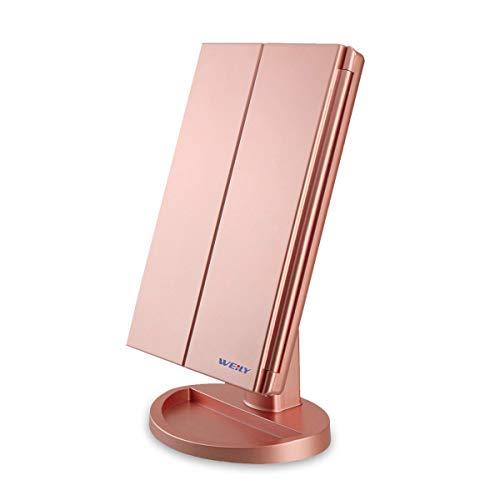 WEILY Specchio per Il Trucco con Luce 1x / 2X / 3X Trifold ingrandente con 36 LED Touch Screen Luci...