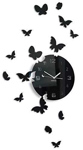 FLEXISTYLE - Grande Orologio da Parete Moderno, Motivo Farfalla, 30 cm, 15 Farfalle, per Soggiorno, Camera da Letto, cameretta dei Bambini, Prodotto in UE, Nero, 30cm