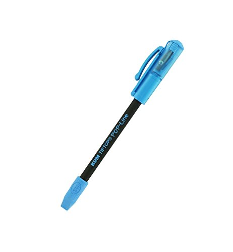 KUM AZ347.02.22-B - Radiergummi-Bleistift-Spitzer TipTop POP-Line, blau, 1 Stück