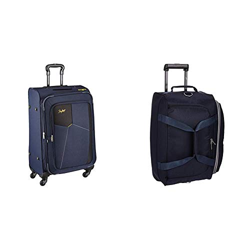 Skybags Footloose Rubik Polyester 680 mm Blue Softsided Check-in Luggage + Cardiff Polyester 52 cms Blue Travel Duffle (STRUW68EBLU + DFTCAR52BLU)