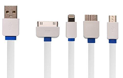 OKCS 4 in 1 Multiladekabel - für Lightning iPhone X, 8, 8 Plus Etc. + 30 Polig iPhone 4, 4s Etc. + MicroUSB Galaxy S7, S7 Edge Etc. + TypC Galaxy S9, S9+, S8, S8+ Etc. - Weiß/Blau