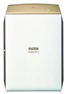 Fujifilm Instax Share SP-2 Gold Ex D - Impresora para smartphones (62 mm x 46 mm, 320 dpi, 2W, capacidad de impresión - 100 fotos, USB cable, WiFi, color), dorado