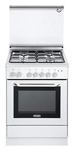 De Longhi DGW 65 ED - Cucina a Gas 4 Fuochi con Forno a Gas 60x50 cm colore Bianco