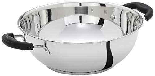 Amazon Brand - Solimo Stainless Steel Induction Bottom Kadhai (25cm, 3000ml)