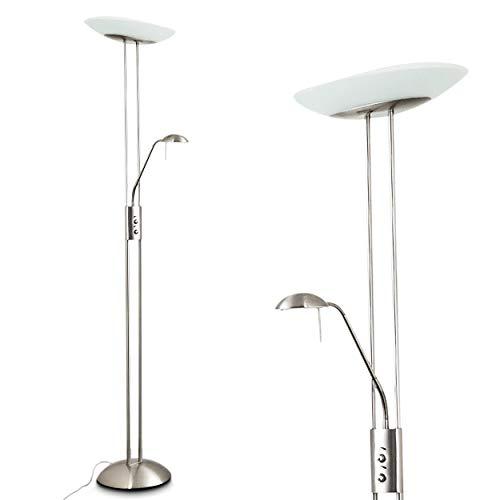 LED Stehlampe Lucca, dimmbare Stehleuchte aus Metall in Nickel-matt, m. verstellbarem Lesearm, 2180 Lumen, Lichtfarbe 3000 Kelvin (warmweiß), Deckenfluter für Wohnzimmer, Flur, Esszimmer, Schlafzimmer