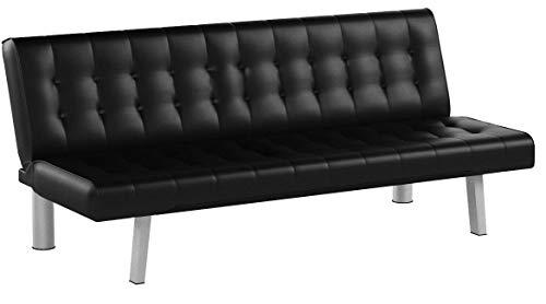 AVANTI TRENDSTORE - Pedrilla - Divano Elegante con Funzione Letto, in Similpelle Disponibile in 2 Diversi Colori, Dimensioni: Lap 180x80x77 cm (Nero)