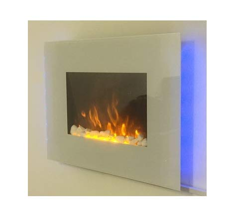 TruFlame 2019 WHITE GLASS 7 COLOUR CHANGING LED WALL MOUNTED ELECTRIC FIRE