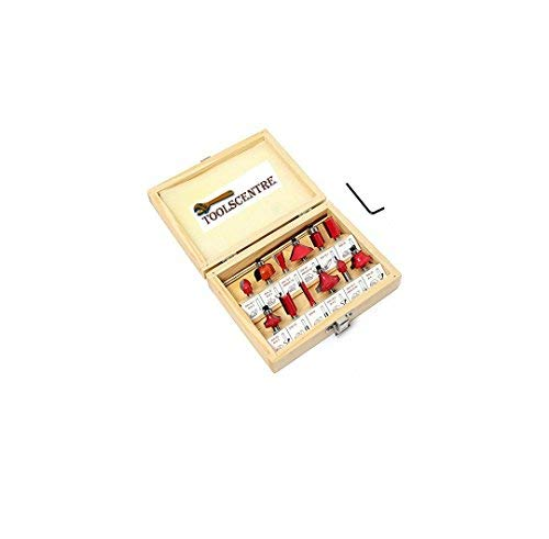 TOOLSCENTRE Stainless Steel Multi Shaped Router/Trimmer Bit Set with Wooden (Red, 12 Piece)