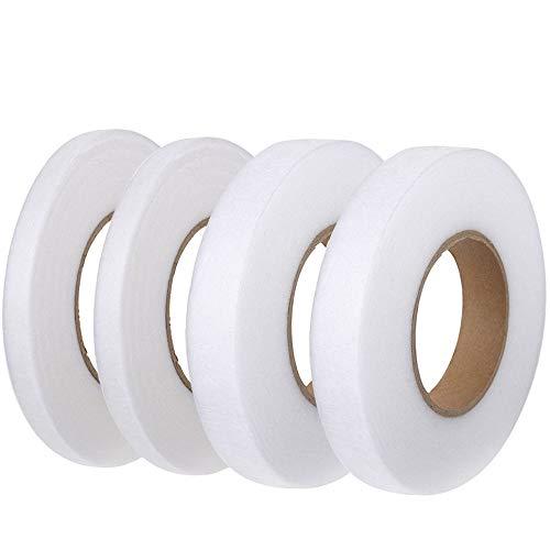 FOGAWA 4 Rollen Saumband, 10mm 20mm Bügelband zum Aufbügeln Nähen 256 Meter Bügeleisen Klebeband beidseitiges weißes Fixierband Nahtband für Vorhang Rock-und Hosensaum Gardinen Jeans