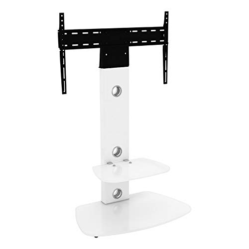 Supporto TV a King verticale con staffa bianco arrotondato ripiani 70 cm da 81,3 cm - 152,4 cm...