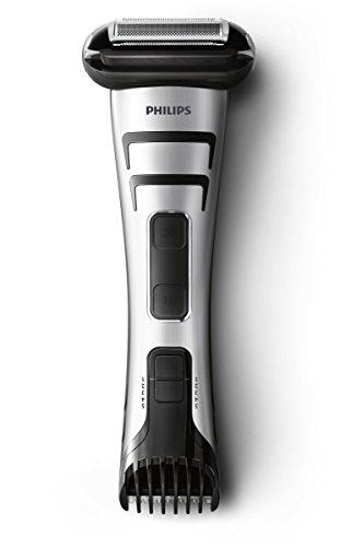 Philips BodyGroom TT2040/32 - Afeitadora corporal inalámbrica, con dos cabezales de recorte y afeitado, 50 min de uso/1 h de carga, plateado y negro