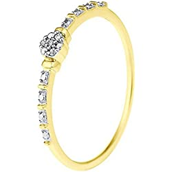 And You - & You - Bague Solitaire - Or Jaune 9 cts - Premium - Diamant 0.01 cts - T56 - AM-9RG 12 307-AJ/56
