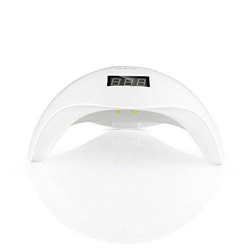 KYG 2-in-1 Secador de Uñas Lámpara 24LED UV para Uñas en Manicuras de Shellac y Gel con Sensor de Infrarrojos con 4 Temporizador Auto para Manicura y Pedicura Blanca