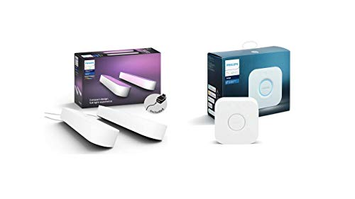 31mmvkfzxdL Bon Philips Hue !  Philips Hue White & Color Ambiance Play X2 Blanc 6,6 W + Pont de connexion - Fonctionne avec Alexa