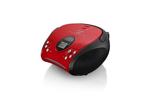 Lenco SCD-24 Stereo UKW-Radio mit CD-Player und Teleskopantenne rot/schwarz