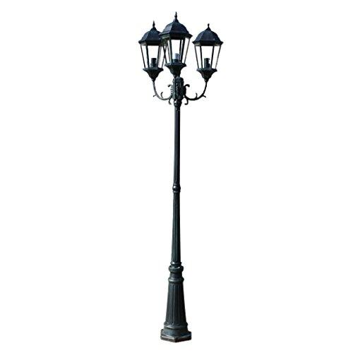 vidaXL Lampione con 3 Lanterne per Giardino Vialetto Luce Lampada da Esterno