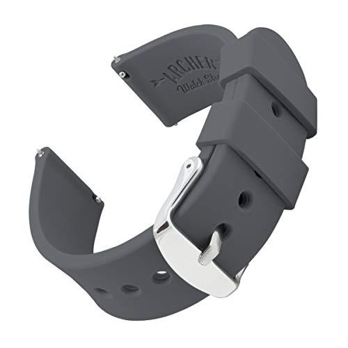 Archer Watch Straps | Ricambio di Cinturino di Silicone per Uomo e Donna, Caucciù Sgancio Rapido per Orologi e Smartwatch | Grigio Scuro, 18mm