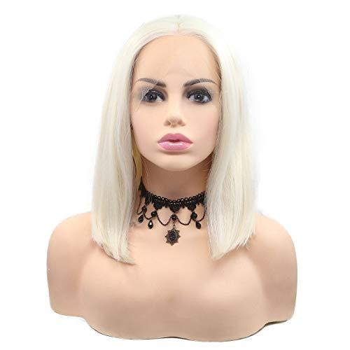 White Blonde synthetic Bob parrucca per le donne carino breve Haircut Ice Blonde Lace Front Wigs ricambio party impeccabile attaccatura dei capelli da sposa 35,6cm