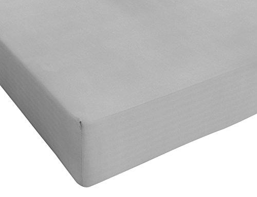 Italian Bed Linen Max Color Lenzuolo sotto a 1 Piazza e Mezza, 100% Cotone, Grigio Chiaro, 120 x 200...