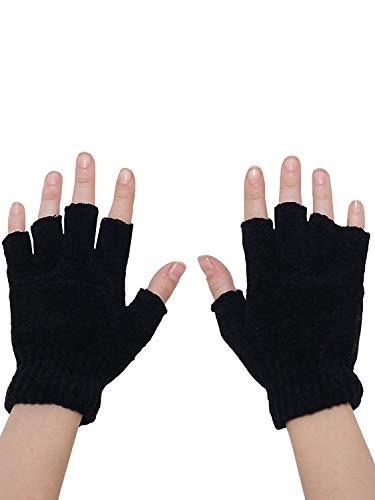 Shopolica Finger Cut Gloves For Winter / Men / Women / Girls / Unisex / Warm Fabric (Black, 1)
