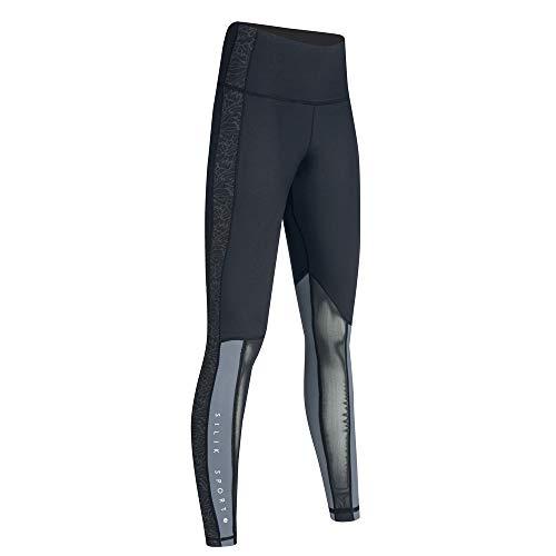 SILIK Womens Sports Running Workout Athletic Leggings Strechy Cintura Alta Pantalones de Fitness de Yoga Que absorben la Humedad con Bolsillo Negro Oscuro S