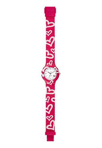 Orologio HIP HOP donna BE LOVED quadrante bianco e cinturino in silicone fucsia, movimento SOLO TEMPO - 3H QUARZO