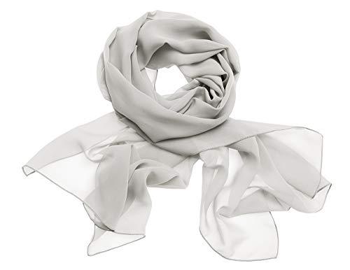 Dresstells Chiffon Schal Stola für Abendkleider in Verschiedenen Farben Silver 190cmX70cm/ Medium