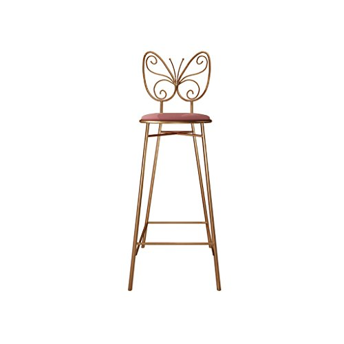 PIGE Hierro Silla Alta Silla de Bar Moderna Minimalista Casa Personalidad Creativa Moda Silla de Mariposa Silla Alta (Color : Oro Rosa, Tamaño : A)