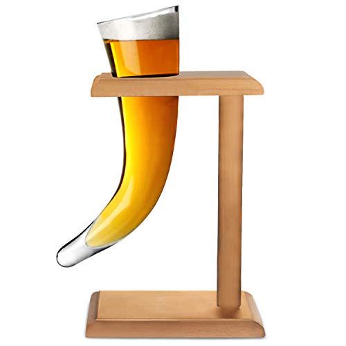Viking-Clacson da birra, in vetro, 17 g, 480 ml di corno vichingo in vetro, a forma di bicchiere da...