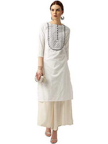 Amayra Women's Cotton Straight Embroidery Kurti (White; Small)