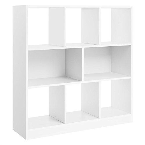 VASAGLE Bücherregal, Raumteiler Regal, Standregal aus Holz mit offenen Fächern, Vitrine für Wohnzimmer, Schlafzimmer, Kinderzimmer und Büro, 97,5 x 100 x 30 cm (B x H x T), Weiß LBC52WT