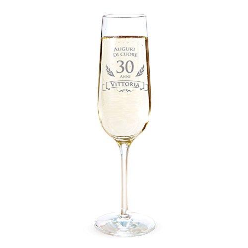 AMAVEL Flute con Incisione per i 30 Anni - Auguri di Cuore - Personalizzato con Nome - Bicchieri da Spumante in Vetro - Calici Champagne - Accessori Cucina - Idee Regalo Originali