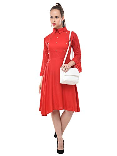 DIMPY GARMENTS BuyNewTrend Red Rayon Knee-Length Flared-Sleeve Dress for Women