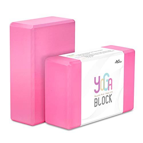 """MoKo Yoga Bloques (2 Paquete) - 9""""X6""""X3"""" Yoga Ejercicio Ladrillos de Alta Densidad EVA Foam, Protección Ambiental y Ligero, Ideal para el Estiramiento y la Celebración Poses - Rosa"""