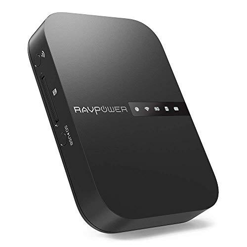 RAVPower - Filehub 5 in 1, Router portatile da viaggio senza fili AC750, backup e trasmissione di...
