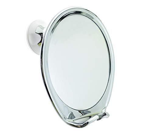 JiBen Fogless Shower Mirror with Power Locking Suction Cup, Built-in Razor Hook and 360 Degree Rotating Adjustable Arm | Best Personal Fog Free Shaving Mirror! (Chrome)
