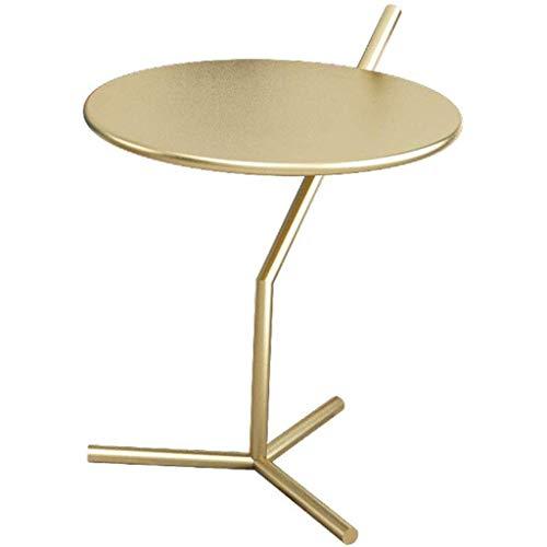 Home warehouse Divano Tavolino Scaffale Ferro Art Corner Table, Moderna Comodino Soggiorno Camera da Letto Facile da memorizzare per Lampada da Tavolo/Fiori/Tastiera,d'oro