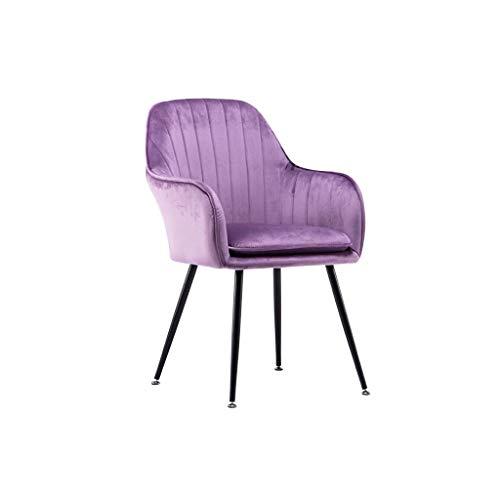 Sly Poltrona Salotto Velluto, Sedile E Schienale con Morbido Cuscino in Velluto per La Sala da Pranzo Dell'hotel Poltrona Camera da Letto (Color : Purple, Size : Black Painted Legs)