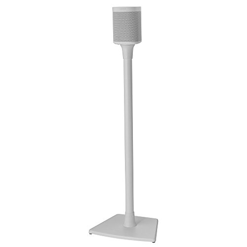 Sanus Wireless Sonos Speaker Stand for One, PLAY:1, & PLAY:3 - Audio-Enhancing Design With Built-In Cable Management Single (White) WSS21-W1
