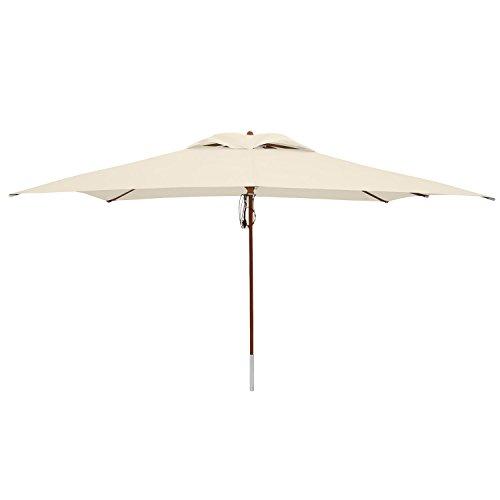 anndora® Sonnenschirm Markt Schirm Holzschirm Gartenschirm Terrassenschirm 12m² 3x4 m recht eckig Natural fast weiß Top Qualität