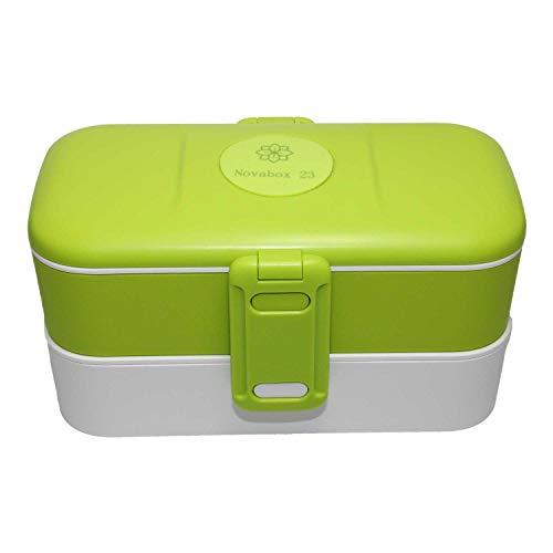Novabox23 (3 Farben Auswahl | Bento Box | Lunchbox mit Weizenstroh Besteck | Praktische Brotdose für Kinder & Erwachsene | Mikrowellensicher | Auslaufsicher | BPA Frei