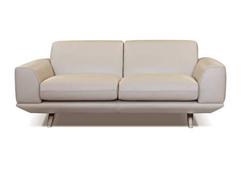 Marchio Amazon -Alkove, divano in pelle modello Sofia, stile moderno, maxi 2 posti, colore beige